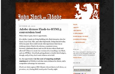 http://blogs.adobe.com/jnack/2010/10/adobe-demos-flash-to-html5-conversion-tool.html