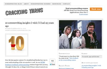 http://www.crackingyarns.com.au/2010/07/22/10-best-screenwriting-tips/