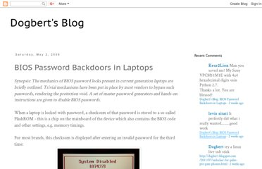 BIOS Password Backdoors in Laptops. Synopsis: The mechanics of BIOS ...
