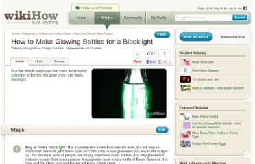 http://www.wikihow.com/Make-Glowing-Bottles-for-a-Blacklight