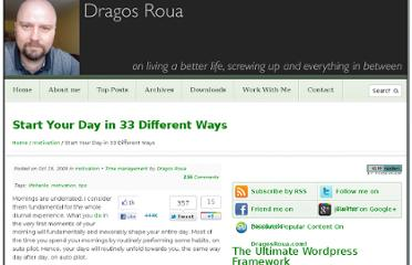 http://www.dragosroua.com/33-ways-to-start-your-day/