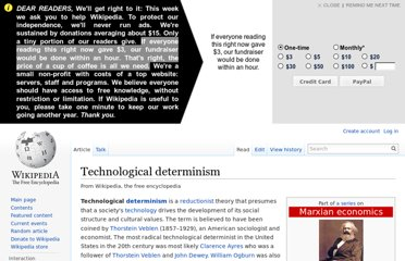 http://en.wikipedia.org/wiki/Technological_determinism
