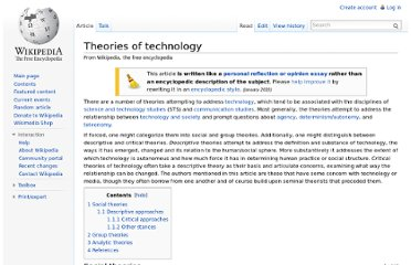 http://en.wikipedia.org/wiki/Theories_of_technology