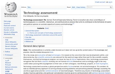 http://en.wikipedia.org/wiki/Technology_assessment