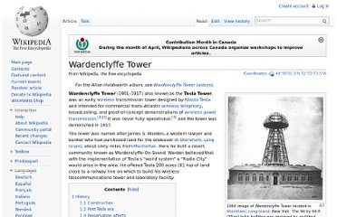 http://en.wikipedia.org/wiki/Wardenclyffe_Tower