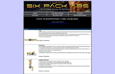 http://www.iwantsixpackabs.com/bodyweight/core_exercises.html