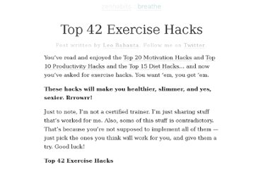 http://zenhabits.net/top-42-exercise-hacks/