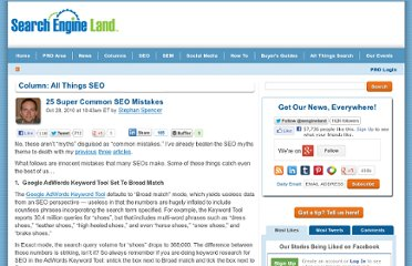 http://searchengineland.com/25-super-common-seo-mistakes-51888
