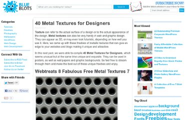 http://blueblots.com/freebies/40-metal-textures-for-designers/