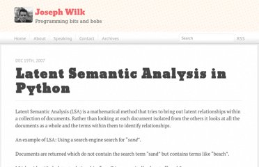 http://blog.josephwilk.net/projects/latent-semantic-analysis-in-python.html