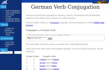 http://www.verbix.com/languages/german.shtml