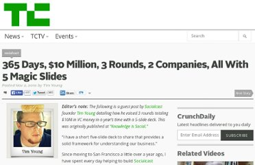 http://techcrunch.com/2010/11/02/365-days-10-million-3-rounds-2-companies-all-with-5-magic-slides/