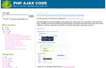 http://php-ajax-code.blogspot.com/2007/07/80-ajax-solutions-for-professional.html