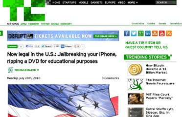 http://techcrunch.com/2010/07/26/now-legal-in-the-u-s-jailbreaking-your-iphone-ripping-a-dvd-for-educational-purposes/