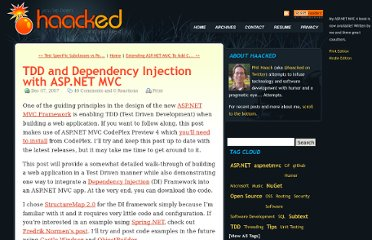 http://haacked.com/archive/2007/12/07/tdd-and-dependency-injection-with-asp.net-mvc.aspx