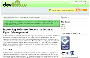 http://devlicio.us/blogs/tim_barcz/archive/2009/03/05/improving-software-process-a-letter-to-upper-management.aspx