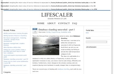 http://lifescaler.com/2008/04/database-sharding-unraveled-part-i/