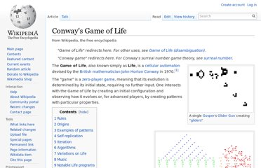 http://en.wikipedia.org/wiki/Conway%27s_Game_of_Life