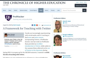 http://chronicle.com/blogs/profhacker/a-framework-for-teaching-with-twitter/26223