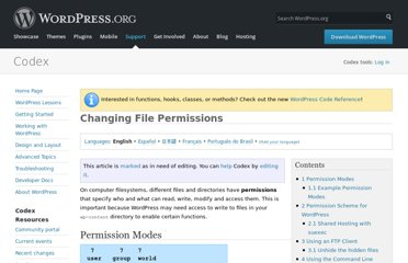 http://codex.wordpress.org/Changing_File_Permissions