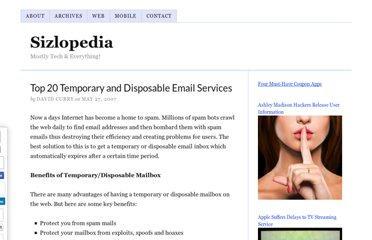 http://www.sizlopedia.com/2007/05/27/top-20-temporary-and-disposable-email-services/
