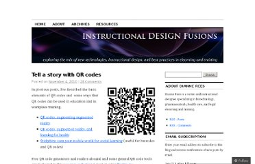 http://instructionaldesignfusions.wordpress.com/2010/11/04/tell-a-story-with-qr-codes/