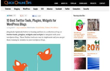 http://www.quickonlinetips.com/archives/2007/04/10-best-twitter-tools-for-wordpress-blogs/