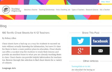 http://www.teachingdegree.org/2009/07/01/100-terrific-cheat-sheets-for-k-12-teachers/