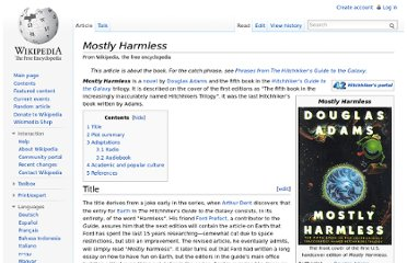 http://en.wikipedia.org/wiki/Mostly_Harmless