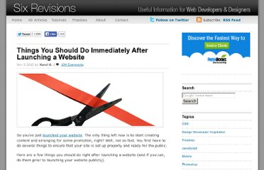 http://sixrevisions.com/website-management/things-you-should-do-immediately-after-launching-a-website/