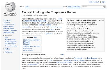 http://en.wikipedia.org/wiki/On_First_Looking_into_Chapman%27s_Homer