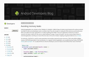 http://android-developers.blogspot.com/2009/01/avoiding-memory-leaks.html