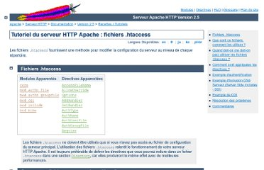 http://httpd.apache.org/docs/trunk/fr/howto/htaccess.html