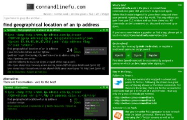 http://www.commandlinefu.com/commands/view/1205/find-geographical-location-of-an-ip-address