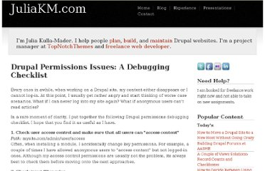 http://www.juliakm.com/drupal-permissions-issues-debugging-checklist