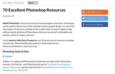 http://sixrevisions.com/photoshop/70-excellent-photoshop-resources/