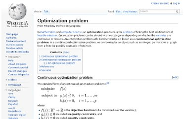 http://en.wikipedia.org/wiki/Optimization_problem