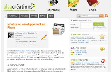 http://www.alsacreations.com/article/lire/744-initiation-au-dveloppement-sur-iphone.html