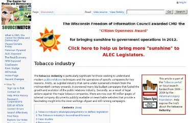 http://www.sourcewatch.org/index.php?title=Tobacco_industry