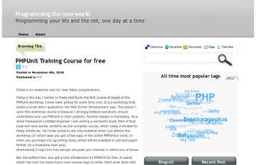 http://blog.nickbelhomme.com/php/phpunit-training-course-for-free_282