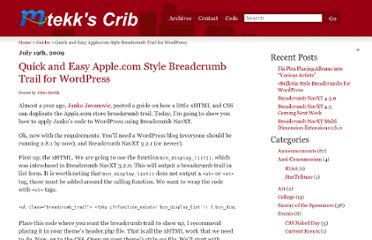 http://mtekk.us/archives/guides/quick-and-easy-apple-com-style-breadcrumb-trail-for-wordpress/