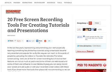 http://designbeep.com/2010/06/17/20-free-screen-recording-tools-for-creating-tutorials-and-presentations/