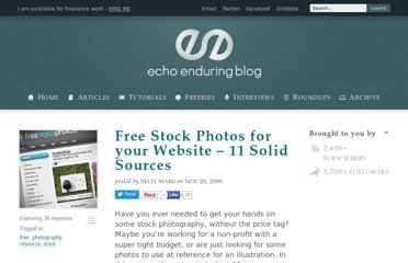 http://blog.echoenduring.com/2009/11/20/free-stock-photos-for-your-website-11-solid-sources/