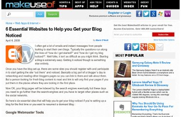 http://www.makeuseof.com/tag/six-essential-websites-to-help-you-get-your-blog-noticed/