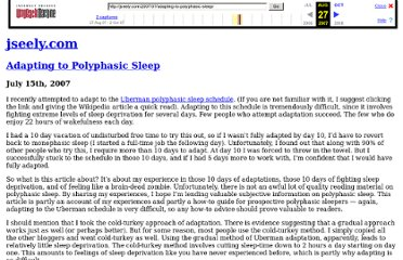 http://web.archive.org/web/20070827062720/jseely.com/2007/07/adapting-to-polyphasic-sleep/