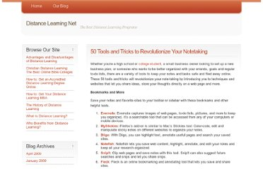 http://www.distancelearningnet.com/blog/2009/50-tools-and-tricks-to-revolutionize-your-notetaking/