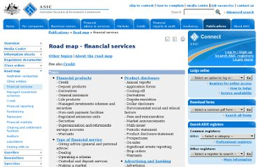 http://www.asic.gov.au/asic/asic.nsf/byheadline/Road+map+financial+services?openDocument