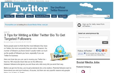 http://www.mediabistro.com/alltwitter/3-tips-for-writing-a-killer-twitter-bio-to-get-targeted-followers_b133