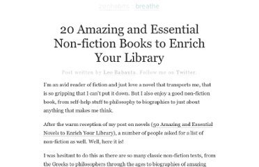 http://zenhabits.net/20-amazing-and-essential-non-fiction-books-to-enrich-your-library/