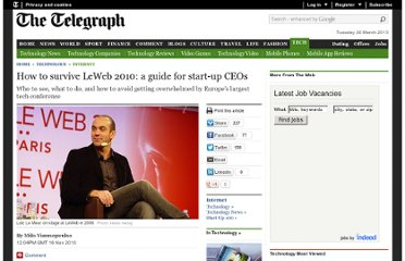 http://www.telegraph.co.uk/technology/internet/8136806/How-to-survive-LeWeb-2010-a-guide-for-start-up-CEOs.html